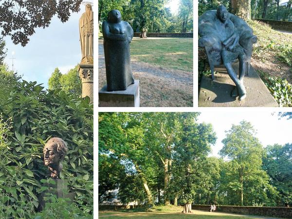 Skulpturen im Rosengarten des Palais Spee in Düsseldorf